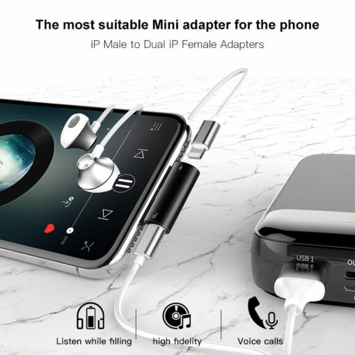 Baseus svart l46 Adapter för iPhoneladda mobilen och lyssna på musik samtidigt