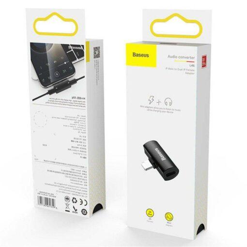Baseus Adapter för iPhone Laddning & Ljud Svart